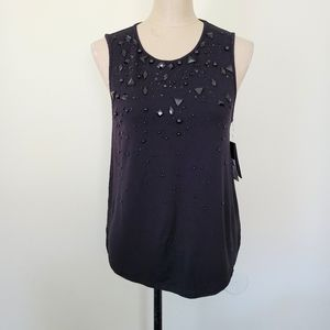Guess black sleeveless embellished top S